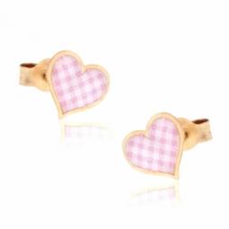 Boucles d'oreilles en or jaune, coeur et laque vichy
