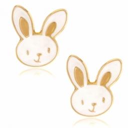 Boucles d'oreilles en or jaune et laque, lapin