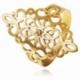 Bague en or jaune ajouré et oxyde de zirconium - A