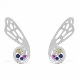Boucles en or gris saphirs bleus, rose et péridots