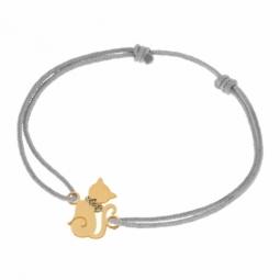 Bracelet cordon en or jaune et laque pailletée, chat