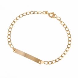 Bracelet identité en or jaune, maille fantaisie, plaque rectangle