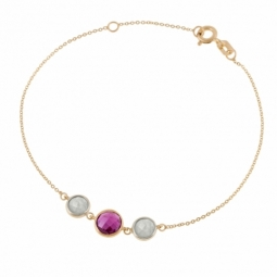 Bracelet en or jaune, rhodolite et quartz