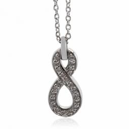 Collier en or gris, motif infini diamants