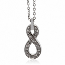 Collier en or gris, motif infini diamants