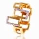 Bague en or jaune rhodié et diamants - A