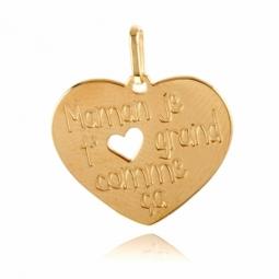Pendentif en or jaune, coeur ajouré maman je t'aime