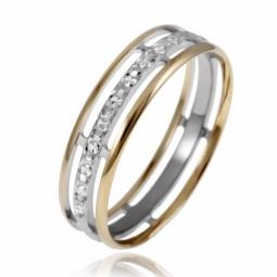 Alliance en 2 ors diamantée, largeur 5 mm
