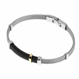 Bracelet en or jaune , acier et acier noir