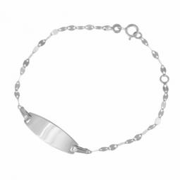 Bracelet identité bébé en or gris, plaque tonneau