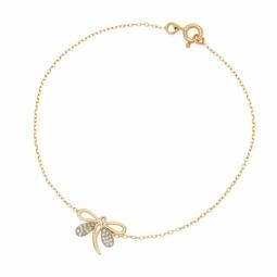 Bracelet en or jaune rhodié et oxydes de zirconium, libellule