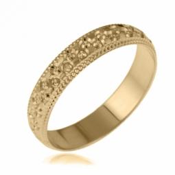 Alliance en or jaune, perlée 4 mm