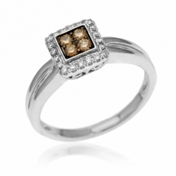 Bague en or gris, diamants blancs et bruns