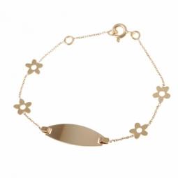 Bracelet identité bébé, or jaune, fleurs et plaque ovale