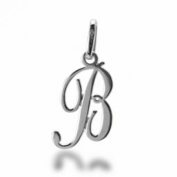 Pendentif alphabet en or gris, lettre B