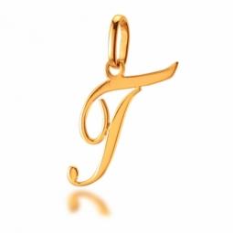 Pendentif alphabet en or jaune, lettre T