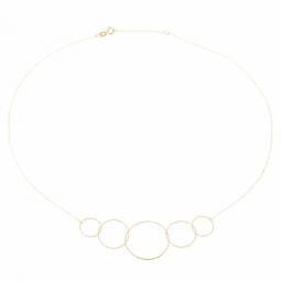 Collier en or jaune, cercles diamantés
