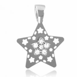 Pendentif en or gris et oxydes de zirconium, motif étoile