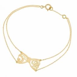 Bracelet en or jaune, noeud dentelle