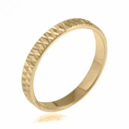 Alliance en or jaune, diamantée, largeur 3 mm