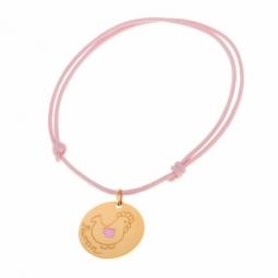 """Bracelet en or jaune, cordon et laque """"maman poule"""""""
