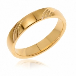 Alliance en or jaune, satiné, 4 mm