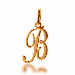 Pendentif alphabet en or jaune, lettre B