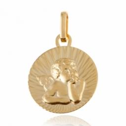 Médaille en or jaune, ange soleil