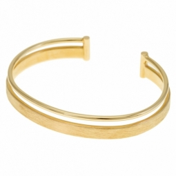 Bracelet jonc en or jaune, mat et lisse