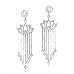 Boucles d'oreilles en or gris et perles de culture