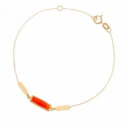 Bracelet en or jaune et cornaline