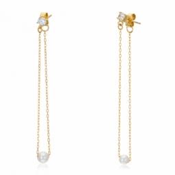 Boucles d'oreilles en or jaune, perle de culture et oxyde de zirconium