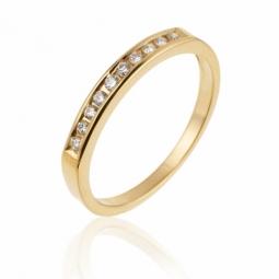 Demi alliance  serti rail or jaune , diamants