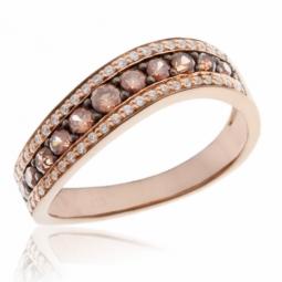 Bague en or rose et rhodié, quartz fumé et diamants
