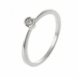 Bague solitaire en or gris, diamant, serti demi clos