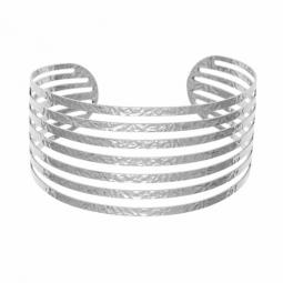 Bracelet manchette en argent rhodié, ajouré et martelé