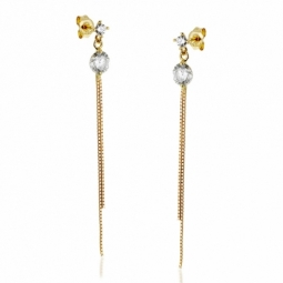 Boucles d'oreilles en or jaune, oxydes de zirconium.