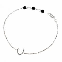 Bracelet en argent rhodié lettre C, diamants et agates noires