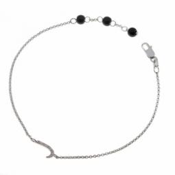 Bracelet en argent rhodié lettre J, diamants et agates noires
