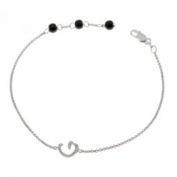 Bracelet en argent rhodié lettre G, diamants et agates noires