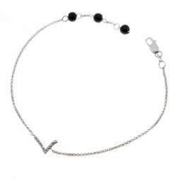 Bracelet en argent rhodié lettre L, diamants et agates noires