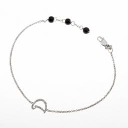 Bracelet en argent rhodié lettre D, diamants et agates noires