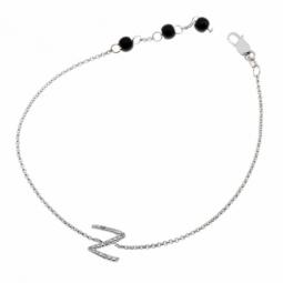 Bracelet en argent rhodié lettre N, diamants et agates noires