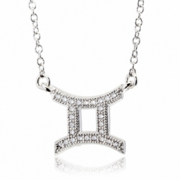 Collier en argent rhodié, signe du zodiaque gémeaux, oxydes de zirconium