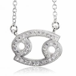 Collier en argent rhodié, signe du zodiaque cancer, oxydes de zirconium