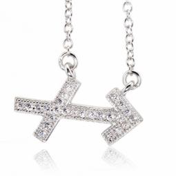 Collier en argent rhodié, signe du zodiaque sagittaire, oxydes de zirconium