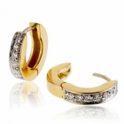 Créoles en or rhodié, diamants
