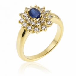 Bague en or jaune, saphir double entourage diamants