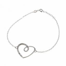 Bracelet en argent rhodié, coeur et oxydes de zirconium