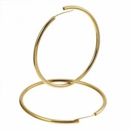 Créoles en plaqué or, fil 30/10 et diamètre 70 mm